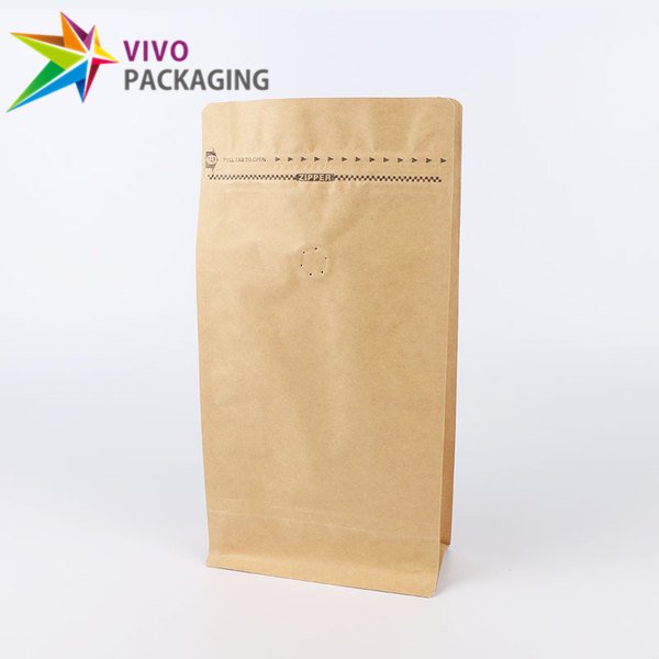 1kg Kraft Paper Flat Bottom Coffee Bag with Valve