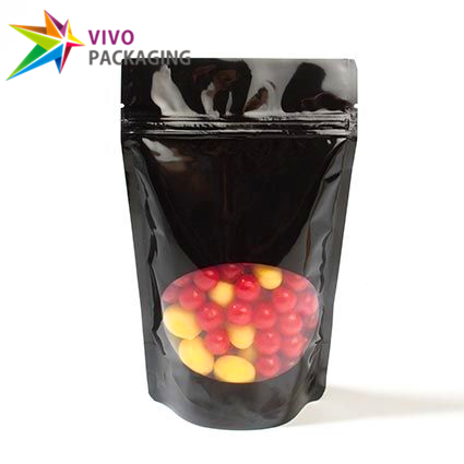 Glossy Black Stand Up Pouch with Zipper