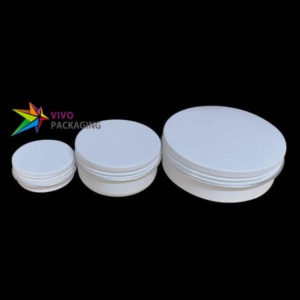 100g Glossy White Aluminium Tin Jar and Screw Cap