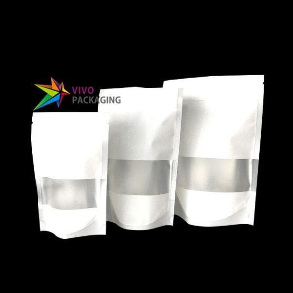 100g Matte White Stand Up Pouch with Window & Zipper