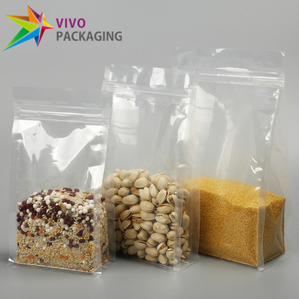 800g All Clear Flat Bottom Bags with Zip