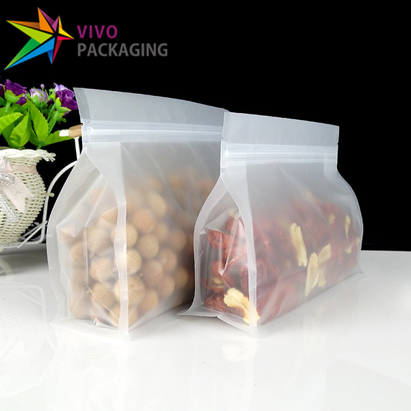 1.2kg Frosted Clear Wide Bottom Bags with Zipper