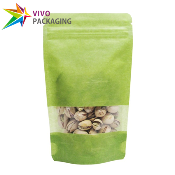 140g Green Rice Paper Stand Up Pouch with Zipper