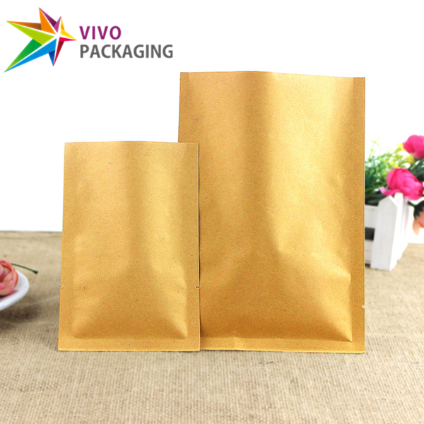Kraft Paper 3 Side Seal Pouches