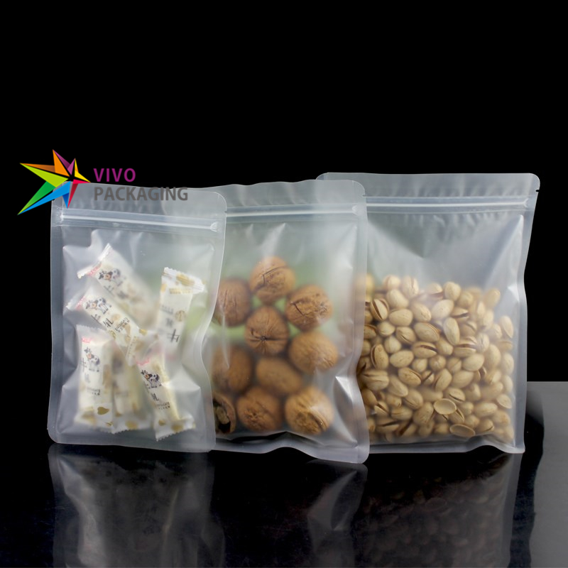 Frosted Clear 3 Side Seal Pouches with Zipper