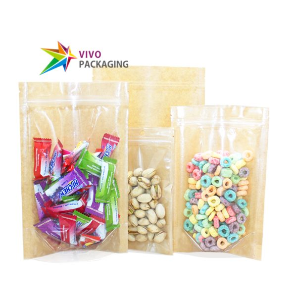 100g Clear Window/Kraft Paper Stand Up Pouch with Zipper