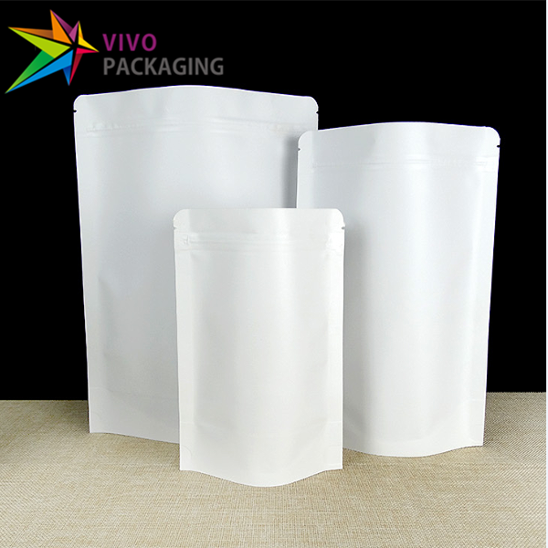 100g White Paper Stand Up Pouch with Zipper